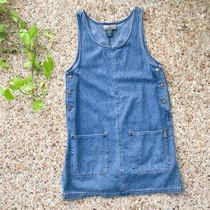 Vintage Denim Jean 90s Button Jumper Overall Dress